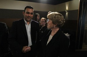 Vijay Narayan, of Fiji radio, puts a question to Greens Leader Christine Milne.
