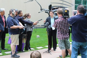 Election program participants join a press conference by Senator Penny Wong on election eve.